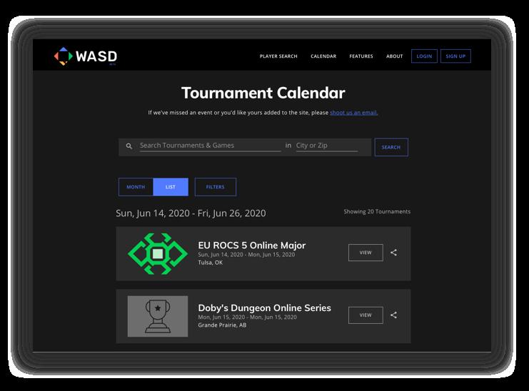 WASD Tournament Calendar